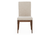 Brown Wood Chair with Beige Upholstered Seat product photo