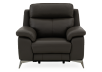 Grey Reclining and Motorized Armchair with Genuine Leather Seat product photo