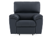 Dark Blue Reclining and Rocking Armchair with Genuine Leather Seat - ELRAN product photo