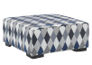 Grey and Blue Upholstered Ottoman product photo other01 S