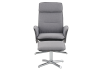 Grey and Black Reclining and Swivelling Upholstered Armchair with Ottoman product photo