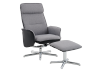 Grey and Black Reclining and Swivelling Upholstered Armchair with Ottoman product photo other01 S
