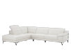 White Sectional Sofa with Genuine Leather Seats, Adjustable Headrests, Bluetooth® Speakers and a Built-in Lamp product photo