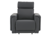 Dark Grey Reclining, Rocking and Battery Motorized Leather Armchair with Adjustable Headrest - ELRAN product photo