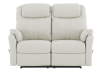 Ivory Reclining Loveseat with Genuine Leather Seats product photo