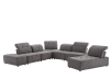 Grey Upholstered Modular Sectional Sofa with Adjustable Backrests and Headrests product photo other07 S