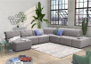 Grey Upholstered Modular Sectional Sofa with Adjustable Backrests and Headrests product photo other10 S