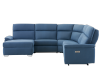 Blue Reclining and Motorized Upholstered Sectional Sofa with Adjustable Headrests - ELRAN product photo other02 S