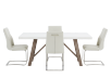 Brown and White Acacia Kitchen Room Furniture with Beige Chairs product photo