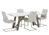Brown and White Acacia Kitchen Room Furniture with Beige Chairs product photo other01 S