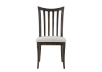 Dark Brown Birch Wood Chair with Grey Upholstered Seat product photo