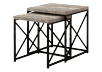 Brown Grey End Table with Black Metal Legs Set product photo