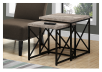 Brown Grey End Table with Black Metal Legs Set product photo other04 S