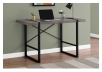 Dark Brown Grey Desk with Black Metal Legs product photo other04 S