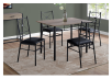 Dark Brown Grey Kitchen Room Furniture with Black Metal Legs product photo other04 S