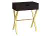 Dark Brown Accent Table with Golden Yellow Metal Legs product photo
