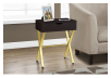 Dark Brown Accent Table with Golden Yellow Metal Legs product photo other04 S
