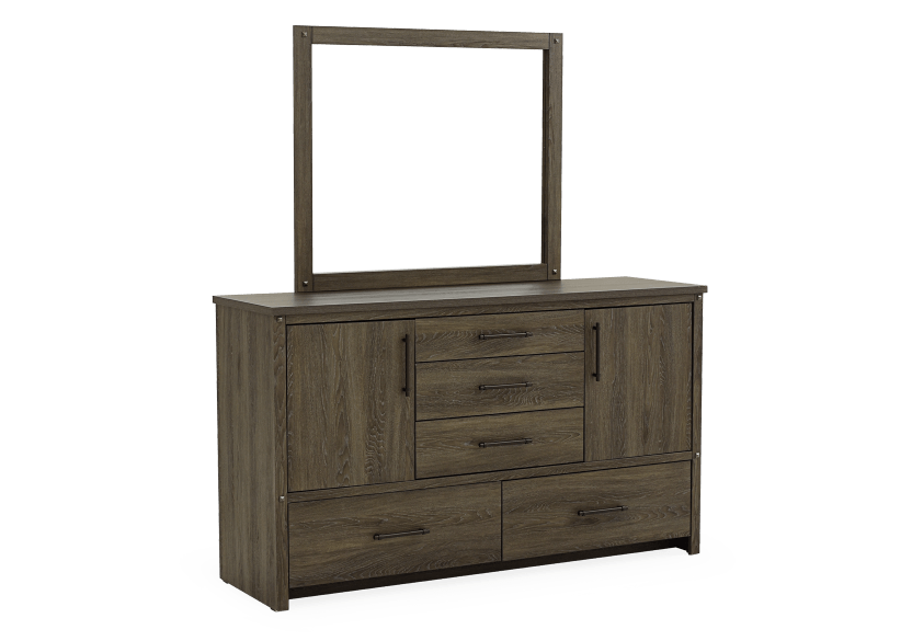 Mobilier de chambre à coucher brun-gris - Grand lit Queen photo du produit other03 L