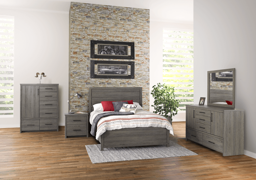 Mobilier de chambre à coucher brun-gris - Grand lit Queen photo du produit other05 L
