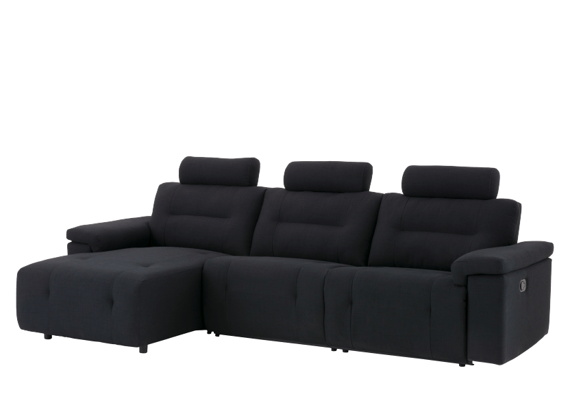 Divan sectionnel inclinable en tissu noir - ELRAN photo du produit other01 L