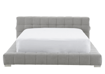 Lit en tissu gris - Grand lit Queen photo du produit