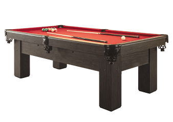 Table de billard en bois gris avec tapis rouge photo du produit