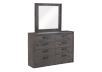 Mobilier de chambre à coucher brun-gris - Grand lit Queen photo du produit other02 S